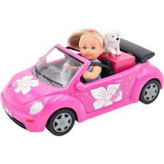 Punčka Evi Love s kužkom in avtom, 12cm