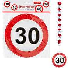 Spirala iz papirja - prometni znak 30, 2kom, 17.5cm