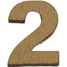 Številka 2, lesena, zlata, 1.5cm