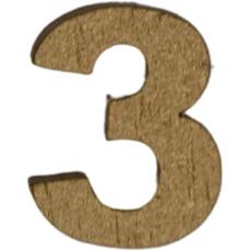 Številka 3, lesena, zlata, 1.5cm