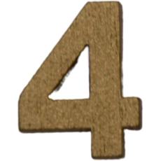 Številka 4, lesena, zlata, 1.5cm