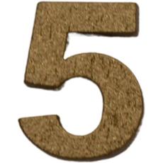 Številka 5, lesena, zlata, 1,5cm