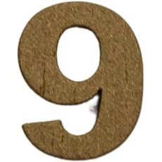 Številka 9, lesena, zlata, 1,5cm