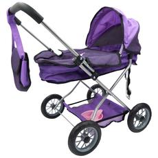 Voziček za punčke, vijoličen, s torbico in pripomočki za hranjenje, 37x58x56cm