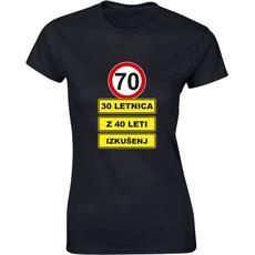 Majica ženska (telirana)-70 - 30letnica z 40 leti izkušenj S-črna