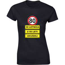 Majica ženska (telirana)-80 - 30letnica z 50 leti izkušenj S-črna