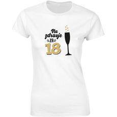 Majica ženska (telirana)-Na zdravje za 18 - kozarec S-bela