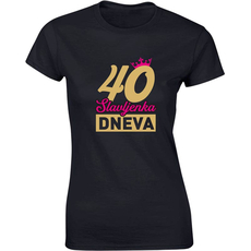 Majica ženska (telirana)-Slavljenka dneva - krona 40 S-črna