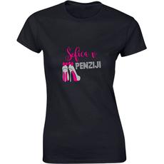Majica ženska (telirana)-Šefica v penziji S-črna
