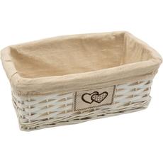 Pletena košara, podolgovata, oblečena v blago, 33.5x19.5cm
