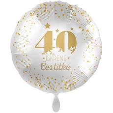 Balon napihljiv, za helij, 40 Iskrene čestitke,zlate  pikice, 43 cm