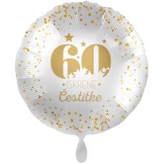 Balon napihljiv, za helij, 60 Iskrene čestitke, zlate pikice, 43 cm