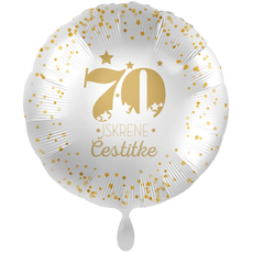 Balon napihljiv, za helij, 70 Iskrene čestitke, zlate pikice, 43 cm