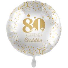 Balon napihljiv, za helij, 80 Iskrene čestitke, zlate pikice, 43 cm