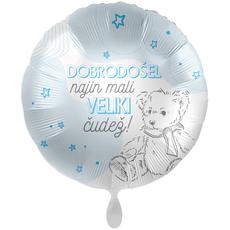 {[sl]:Balon napihljiv, za helij, Dobrodošel najin mali veliki čudež, modre zvezde in medved, 43 c