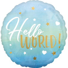 Balon napihljiv, za helij, Hello World, za rojstvo fantka, moder, 43cm