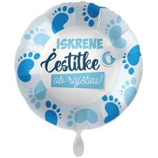Balon napihljiv, za helij, Iskrene čestitke ob rojstvu, modre nogice, 43 cm