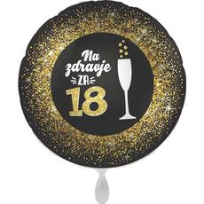 Balon napihljiv, za helij, Na zdravje za 18, 43 cm