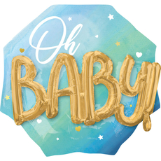 Balon napihljiv, za helij, Oh Baby, za rojstvo fantka, moder, 76cm
