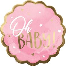 Balon napihljiv, za helij, Oh Baby, za rojstvo punčke, roza, 55cm