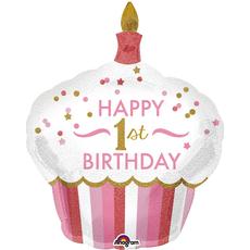 Balon napihljiv, za helij, otroški, Cup Cake, Happy Birthday s št. 1, roza, 73x91cm