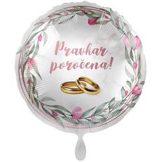 Balon napihljiv, za helij, Pravkar poročena, zlata prstana, 43 cm