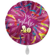 Balon napihljiv, za helij, Vse najboljše 40, pisani trakovi, 43 cm