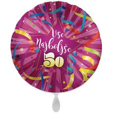 Balon napihljiv, za helij, Vse najboljše 50, pisani trakovi, 43 cm