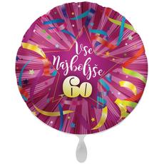 Balon napihljiv, za helij, Vse najboljše 60,  pisani tarkovi, 43 cm
