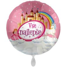 Balon napihljiv, za helij, Vse najlepše, grad, princesa, samorog, 43 cm