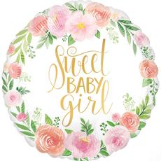Balon napihljiv, za helij, za rojstvo punčke,  Sweet Baby Girl, 45cm