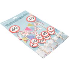 "Dekorativni set - mini girlanda, zobotrebci, prometni znak ""40"""