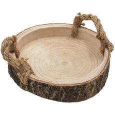 Pladenj lesen, dekorativen, okrogel, z ročaji, 27cm
