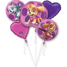 {[sl]:Set balonov - balon napihljiv, za helij, Paw Patrol - roza, 63x58cm, 2x okrogel, 43cm, 2x