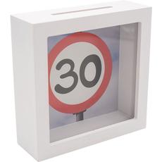 Hranilnik lesen, bel, Prometni znak 30, 15x15x5cm