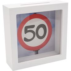 Hranilnik lesen, bel, Prometni znak 50, 15x15x5cm