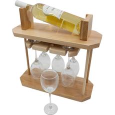 Stojalo leseno za buteljko - svetlo, 40x40cm + 6 kozarcev za vino