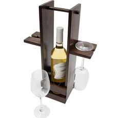 Stojalo leseno za buteljko - temno, 42.5cm + 2 kozarca za vino