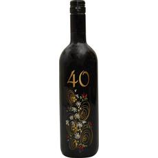 Vino Merlot, 0.75L, poslikana steklenica - cvet, 40 let