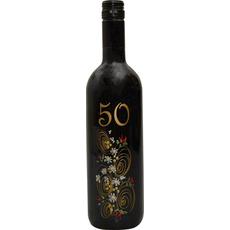 Vino Merlot, 0.75L, poslikana steklenica - cvet, 50 let