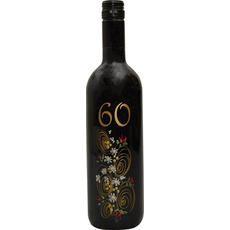 Vino Merlot, 0.75L, poslikana steklenica - cvet, 60 let