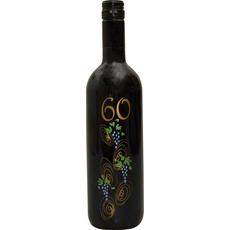 Vino Merlot, 0.75L, poslikana steklenica - grozd, 60 let