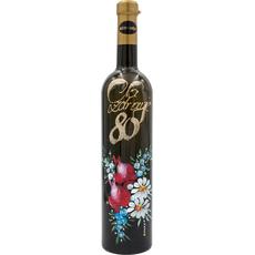 Vino Rumeni muレkat, 0.75l, poslikana steklenica - Na zdravje 80 -cvetje