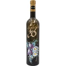 Vino Rumeni muレkat, 0.75l, poslikana steklenica - Vse najboljレe 50 - cvetje