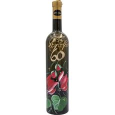 Vino Rumeni muレkat, 0.75l, poslikana steklenica - Vse najboljレe 60 - cvetje