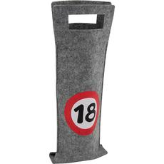 Darilna vrečka za steklenico iz filca, prometni znak 18, 40x14.5cm