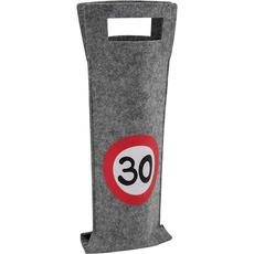 Darilna vrečka za steklenico iz filca, prometni znak 30, 40x14.5cm