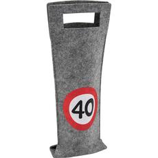 Darilna vrečka za steklenico iz filca, prometni znak 40, 40x14.5cm
