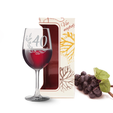 Kozarec za vino graviran - vejica 40, 0.58l