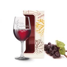 Kozarec za vino graviran - vejica, Vse najboljše, 0.58l